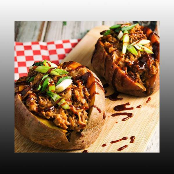 Pulled Pork Stuffed Sweet Potatoes - Healthy Recipe!