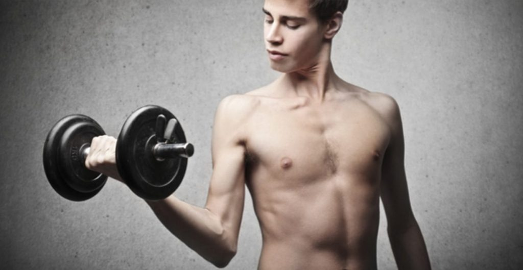Ectomorph body type with dumbbell