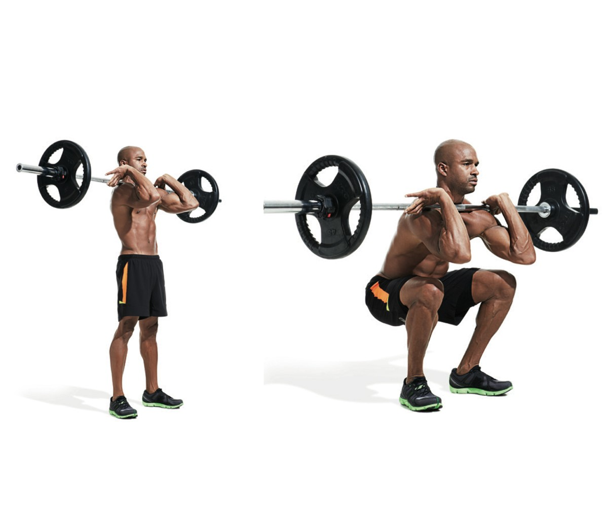 Front squatting with a barbell. Front squats with dumbbells 26