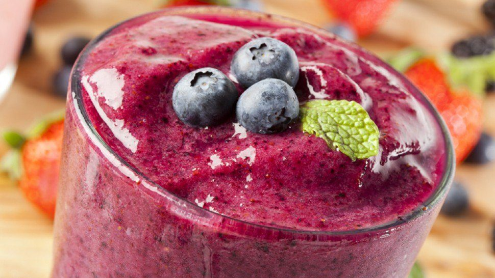 Banana, Blueberries, Strawberries and Wheat Germ Smoothie